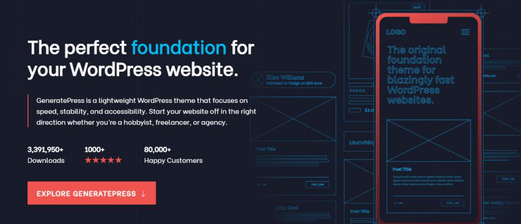 GeneratePress theme for WordPress business website