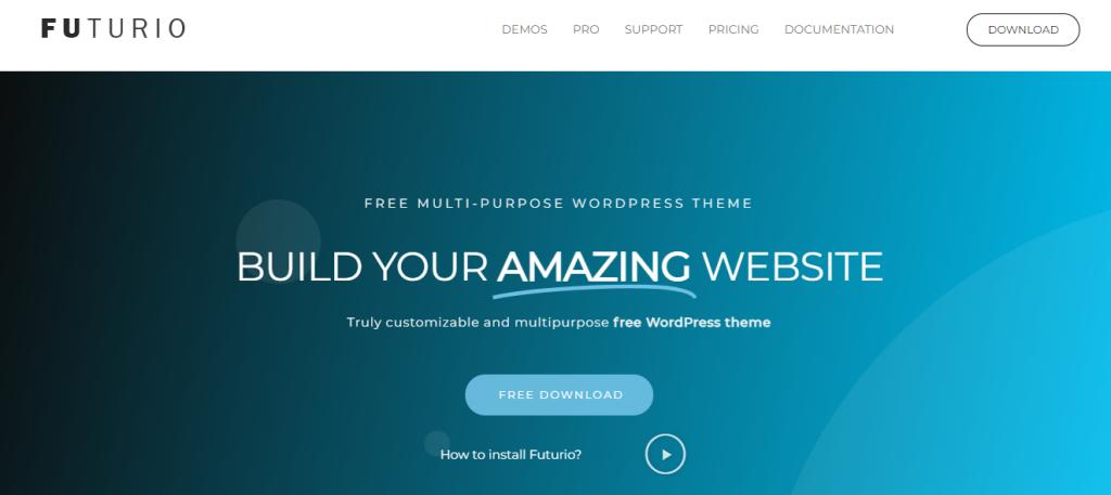 Futurio theme for WordPress business website