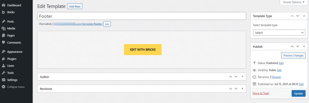 Editing Template with Bricks Builder