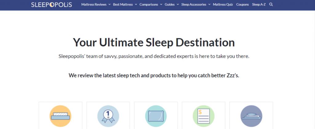 Sleepopolis website built with GeneratePress theme