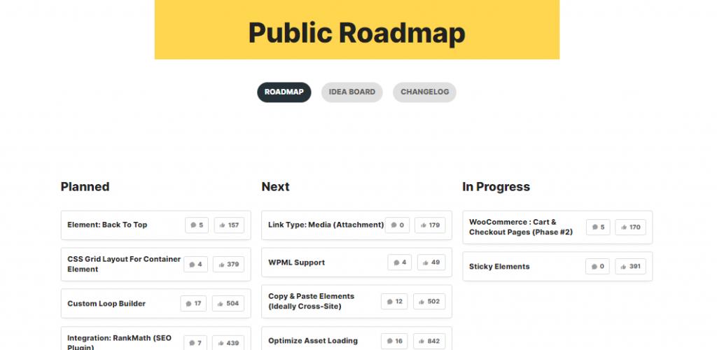 Public Development Roadmap of Bricks Builder