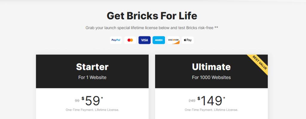 Bricks Builder Pricing