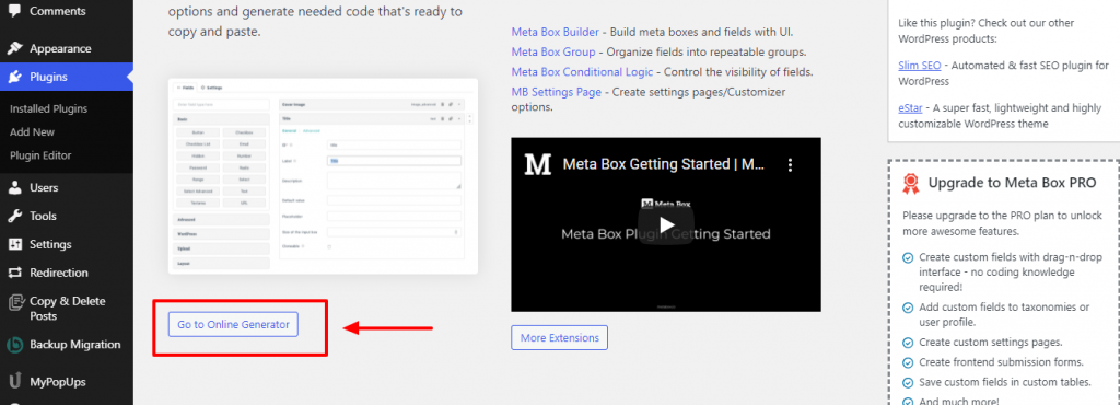 Meta box online generator