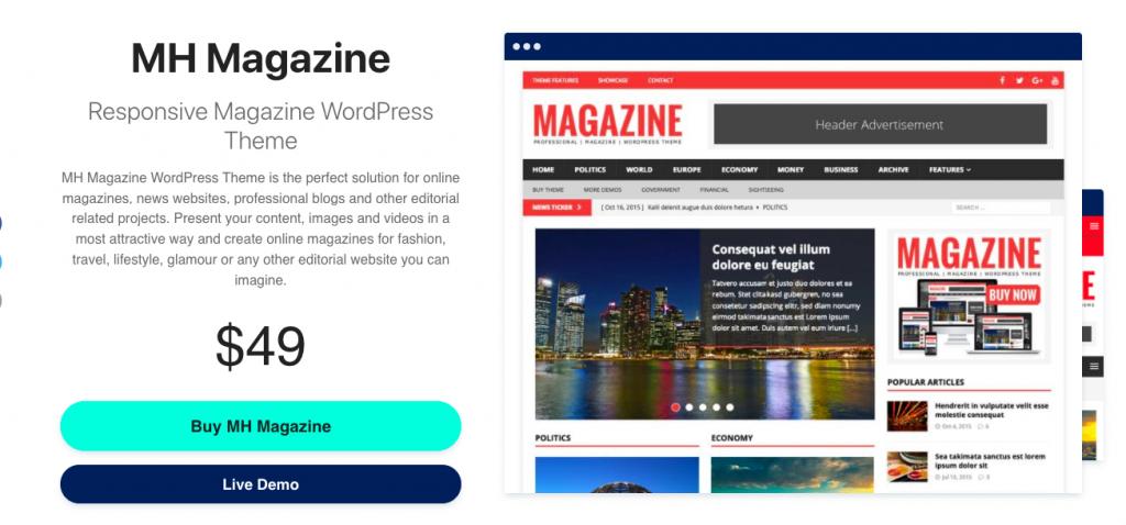 MH Magazine for WordPress magazine website