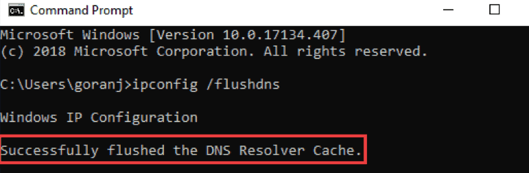 Successfully cleared DNS cache