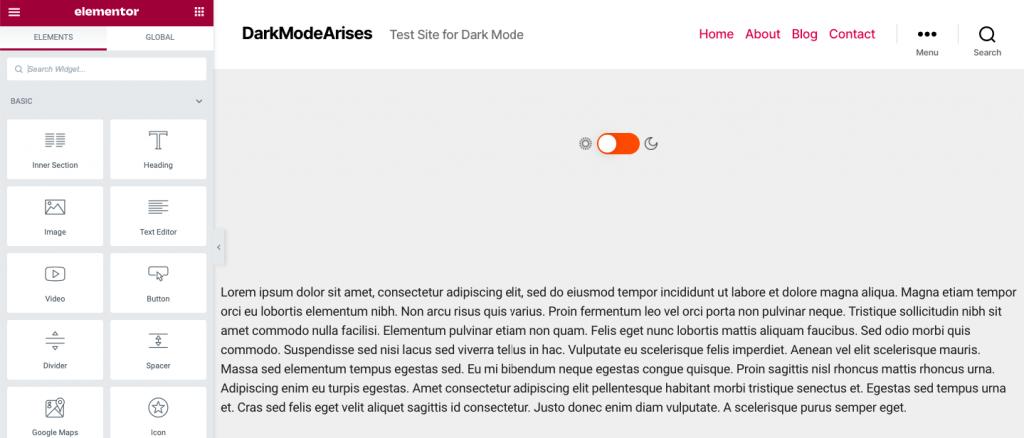 Add WP Dark Mode Widget on Elementor