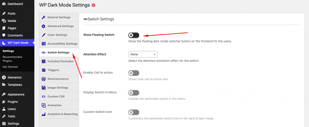 WP Dark Mode Switch Settings