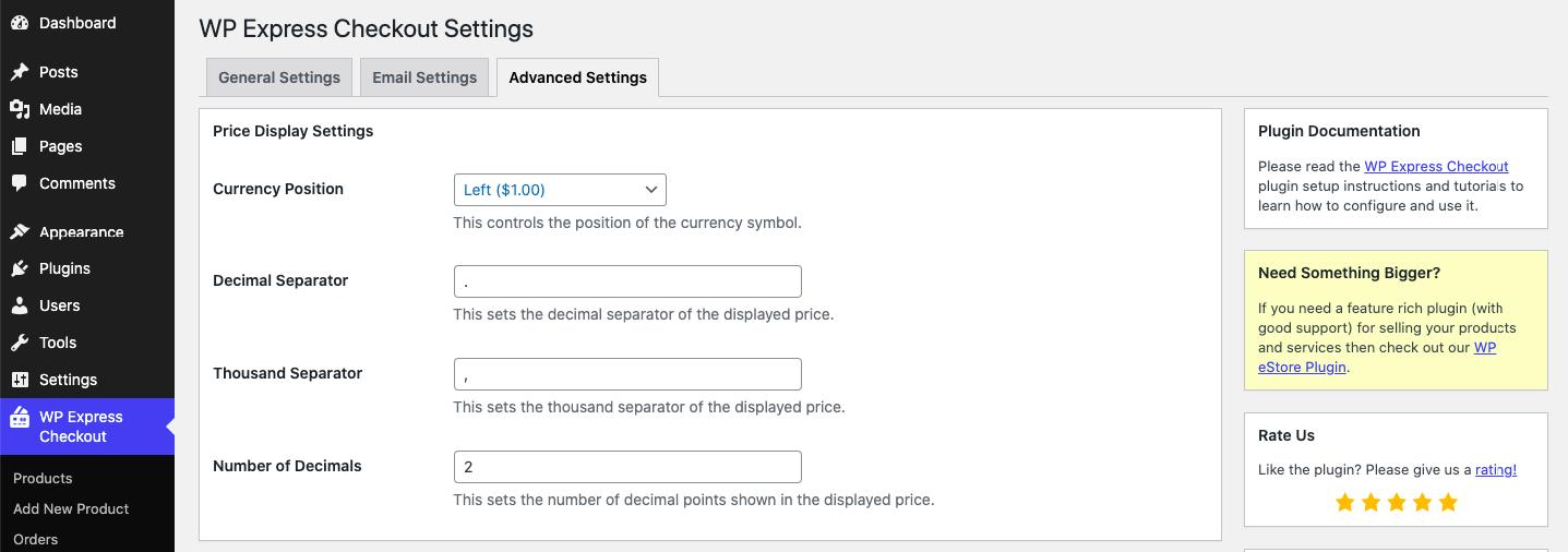 WP Express Checkout Advanced Settings Customization