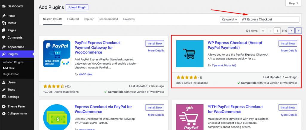 Search WP Express Checkout