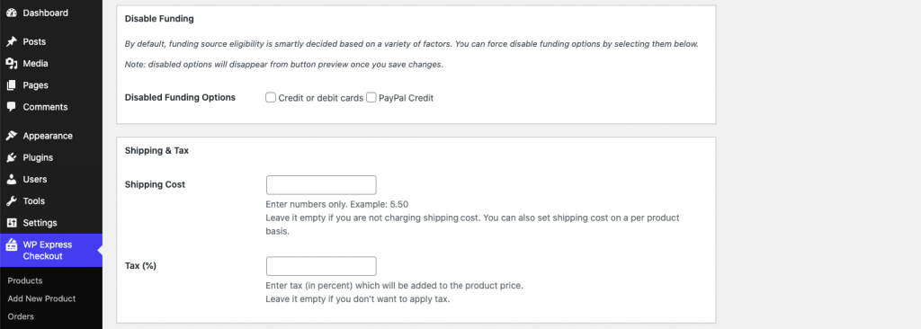 WP Express Checkout General Settings Customization